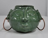 Face Pot Handmade Porcelain Vase Jade Green with Copper Earrings Handmade by Bonnie Stowe Pottery