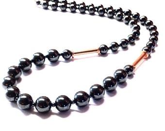 Hematite Stone Necklace - 11th anniversary gift - round hematite bead necklace  - gray stone necklace - hematite jewelry