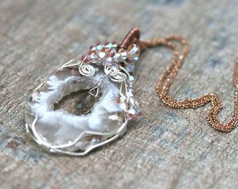 Geode Sliced Druzy Wire Wrapped 14KT Plated Rose Gold Sterling Chain Necklace