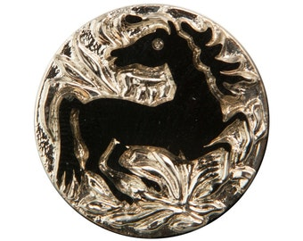 Black Horse on Silver Etched Czech Glass Cabochon 32mm (1) cab480A