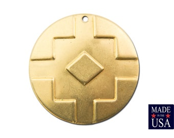 1 Hole Raw Brass Southwestern Drop / Pendant 17mm (6) mtl486A