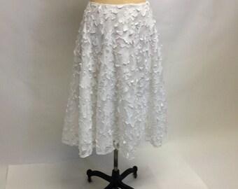 Mood Tattered Chic White Cotton Textured Midi skirt