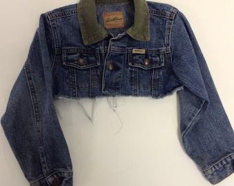 Kids Cropped Distressed Levi Denim Jacket 5/6