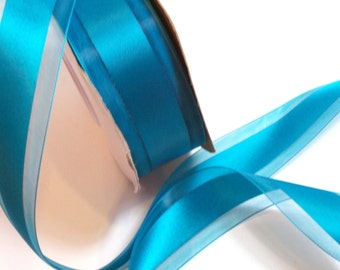 Teal Ribbon, Teal Satin Stripe Organza Ribbon 1 1/2 inches wide x 10 yards, Offray Garbo ribbon, Tornado Blue