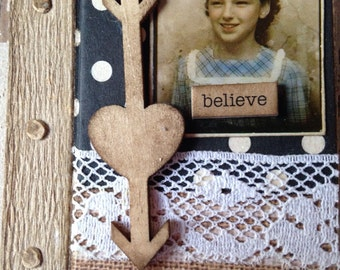 Handmade Journal, Altered Book, Mini Journal, Pocket Journal, Believe, Arrow, Follow Your Heart, ofg team
