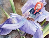 Amy waiting for the Doctor on her Purple Iris Doctor Who ORIGINAL watercolor painting by Redstreake
