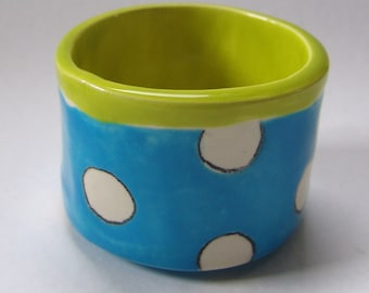 bright blue pottery Serving Bowl chartreuse polka-dots colorful ceramic bowl, pencil cup, crayon holder, cartoon decor