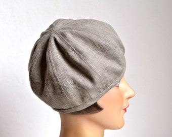 Women's Linen Beret - Taupe Linen Hat - Made to Order - 3 WEEKS FOR SHIPPING