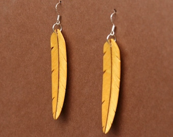 Handcarved Yellowheart and Purpleheart Wood Leaf / Feather Earrings J150702