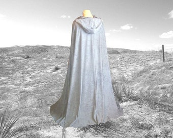 Cloak - Grey Silver Hooded Faux Suede - Cape - Wedding -  Renaissance - Halloween Costume - Harry Potter