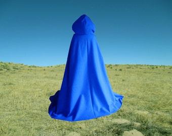 Blue Cape  Cloak Hooded Halloween Renaissance Cloak Medieval Gothic Merlin Twilight Vampire