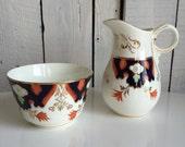 Vintage Gaudy Welsh or Gaudy Dutch Cream and Sugar - Milk Pitcher and Bowl Hand painted Orange Cobalt Gold - Imari