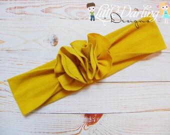 Jersey Knit Headband, Flower Headband, Headwrap