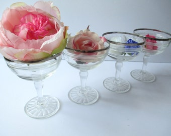 Vintage Champagne Glasses Hocking Glass Banded Rings Crystal Platinum Set of Four