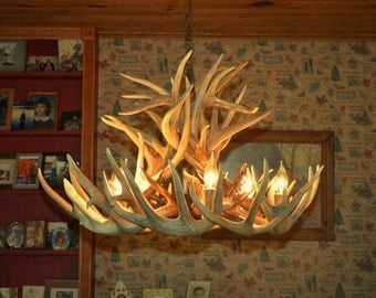 New 28 inch Whitetail Deer Shed Antler Chandelier with center Down Light,