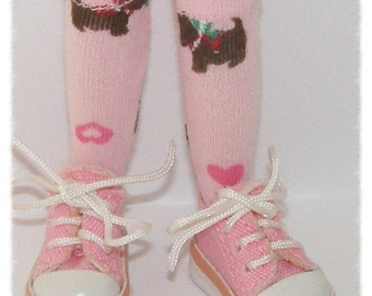 Short Pink Socks With Scottie Dogs For Blythe...One Pair Per Listing...