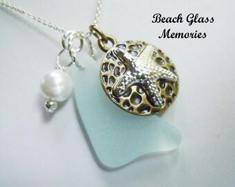 Aqua Sea Glass Necklace - Seaglass Necklace Cluster Beach Glass Jewelry Eco Friendly Jewelry