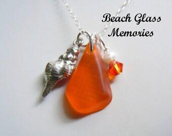 Orange Sea Glass Shell Necklace Seaglass Pendant Necklace Beach Jewelry Beach Glass Necklace