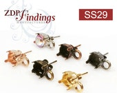 6pcs x Round ss29 Bezel Earrings On Post Suitable Rivoli Swarovski 29ss Choose your Finish (PO29SSPV)