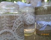5 Wedding Jars  Burlap Vases Set of 5  Vintage Lace  Handmade Flowers