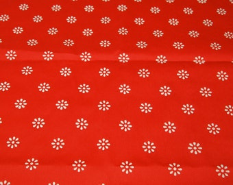 "vintage 70s red and white novelty fabric, featuring flocked flowers, 46"" x 34"""