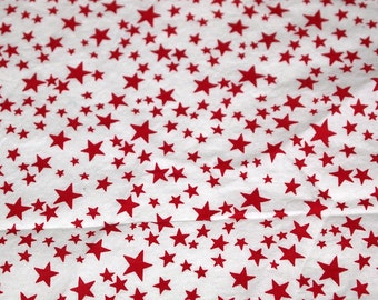 """vintage 80s cotton fabric, featuring cute deep red stars print, 57"""" x 37"""""""
