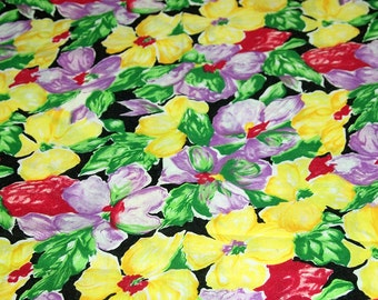 vintage 80s cotton print fabric, featuring large scale floral design, 1 yard, 3 available priced PER YARD