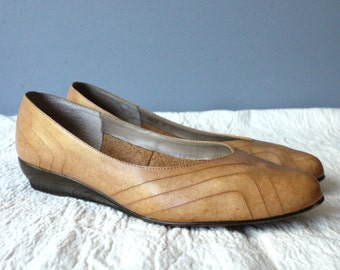 vintage wedges 8M / slip on shoes / honey brown leather
