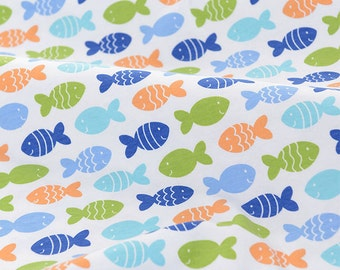 4058 - Fish Cotton Jersey Knit Fabric - 69 Inch (Width) x 1/2 Yard (Length)