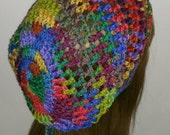 Primary Dread Tam Slouchy Beanie Hat in open stitch