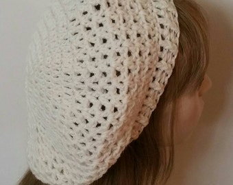 Off White Zig Zag Wool Slouchy Beret/Tam /Crochet Hat
