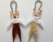 CORGI ornaments dog ORNAMENTS vintage style chenille ornaments set of 2