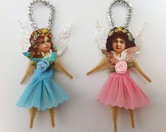 ANGEL blue+pink CHRISTMAS vintage style chenille ORNAMENTS set of 2