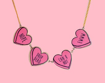 bitter sweet candy heart necklace | four colors to choose from