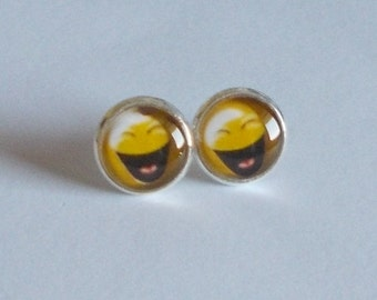 Ohrstecker Cabochon Smiley silber
