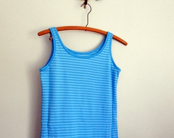 tanktop 60s shirt / blue striped top / nylon tank / dead stock