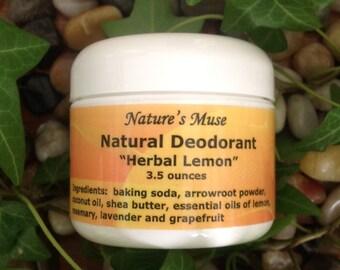 Natural Deodorant Cream, Vegan Friendly, 3.5 ounce, choose from 2 scents (Grapefruit, or Herbal Lemon)