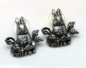 Vintage 1980's La Rage Signed Bunny Rabbit Earrings Post Style