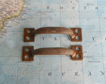 SALE! 2 vintage distressed brass metal Arts and Crafts style pull handles