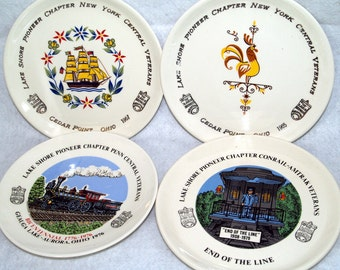 Lot of 4 Different Railroad Plates from Conrail - Amtrak, Penn Central, and New York Central Veteran's Annual Meetings