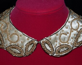 Vintage Beaded Pearl Satin Ladies Collar