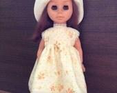 """Vintage style summer dress set for 13"""" doll"""