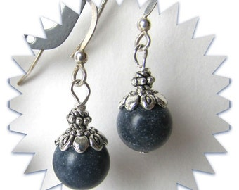 Sodalite Earrings, Gemstone Earrings , .925 Sterling Silver Earwires,  Beaded Earrings, Handmade, Dangle earrings, Blue Earrings, Item#1149
