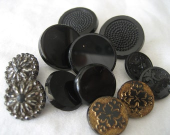6 Sets of 2 ANTIQUE Black Glass BUTTONS  W13