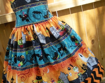 Ready to Ship Custom Boutique Halloween Girl Jumper Dress 7 8