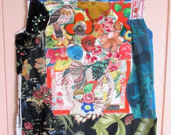 Volcano VEST  - Frida Collage Clothing Wearable Art  - Altered Fabric Crazy Quilt Patchwork  - Recycled Materials // mybonny