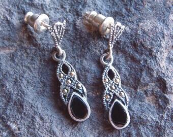 Earrings, Marcasite Earrings, Vintage Sterling Silver Marcasite and Black Onyx Dangle Earrings