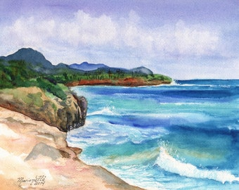 Kauai South Shore Beach - Hawaii - 8 x 10 Art Print - Beach Wave Art - Kauai Surfing Art - Beach Sand Ocean Print - Hawaiian Landscape Decor