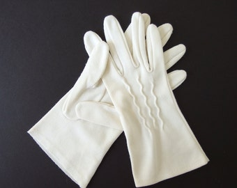 Vintage Dress Gloves - White Nylon Gloves
