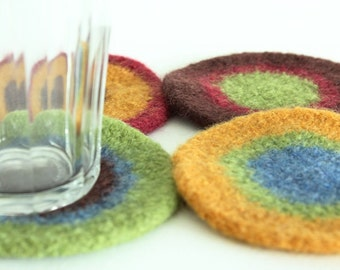 Coasters - Hand-Knit Felted Wool - Cranberry, Green, Brown, Gold, Blue - 2